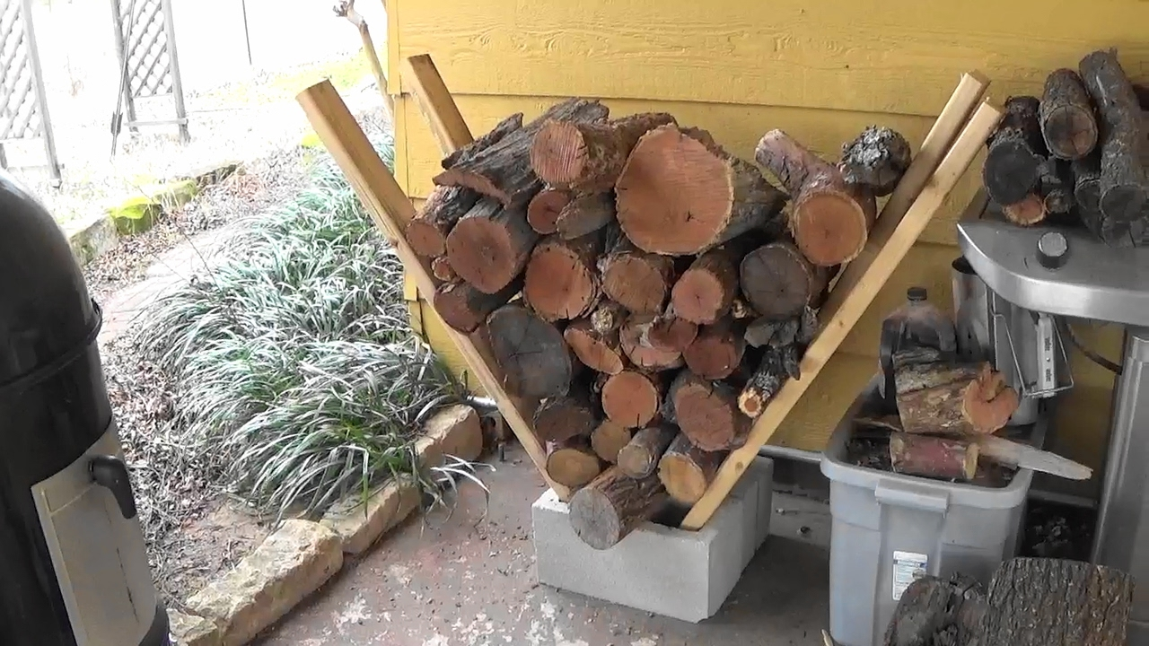 Super Easy Homemade Firewood Rack - No Tools Needed! - YouTube on Simple Cinder Block Fireplace id=67821