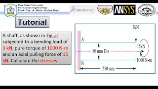 ANSYS Mechanical Tutorial –A shaft-Combined stress (tension , bending and torsion) stress.