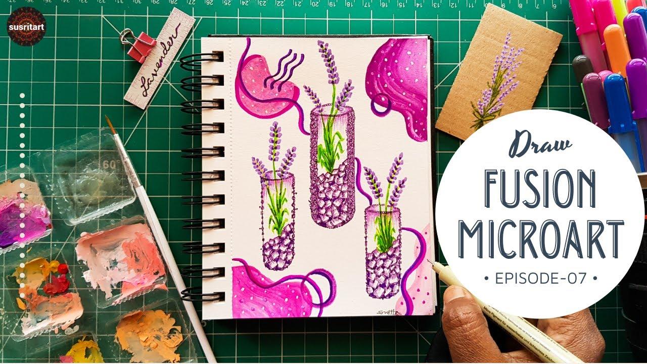 Draw Lavender flower | Test tube drawing | EP-07 | Fusion Microart | Fusion art | Susritart | Penart
