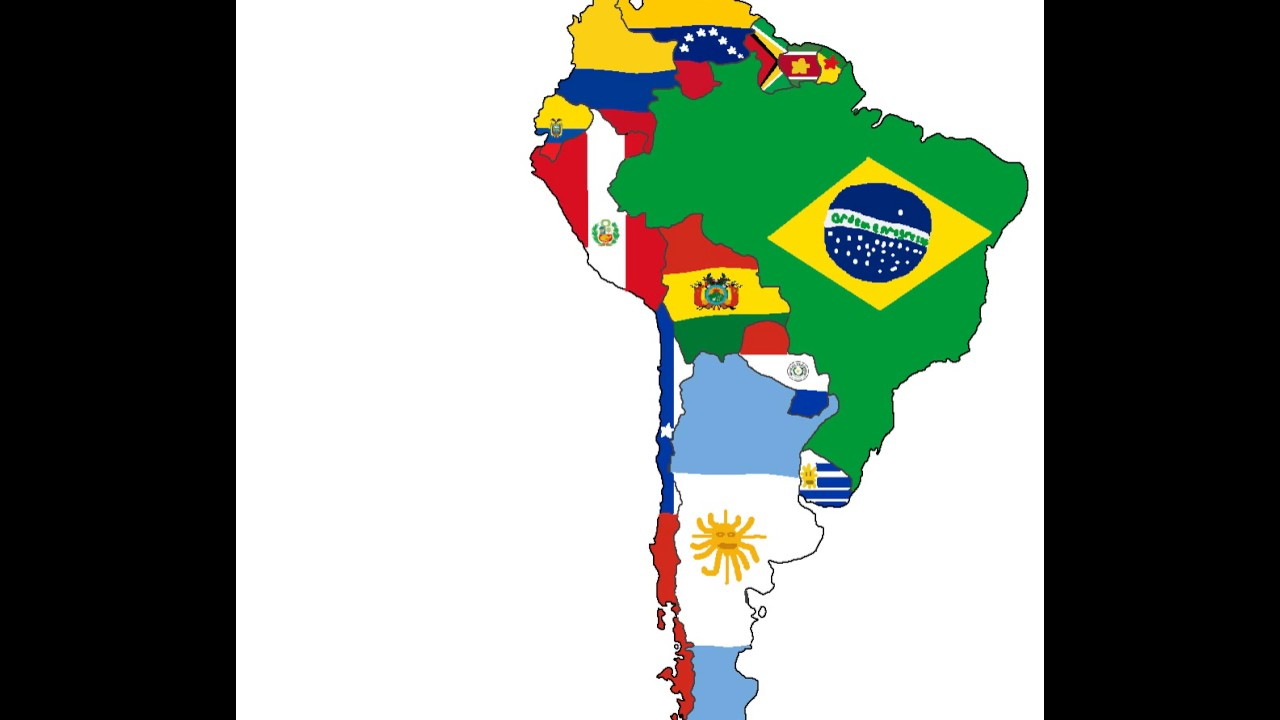 Flag Map Of South Americacountries YouTube - South america map and flags