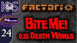 Factorio 0.15 Bite Me! Ep 24: Biter Genocide - Death World COOP MP Gameplay, Let
