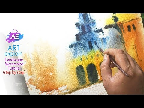 Transparent Watercolor  Landscape Painting | How to paint a watercolor landscape | Art Explain