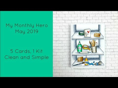 My Monthly Hero May 2019/5 Cards, 1 Kit/Clean And Simple