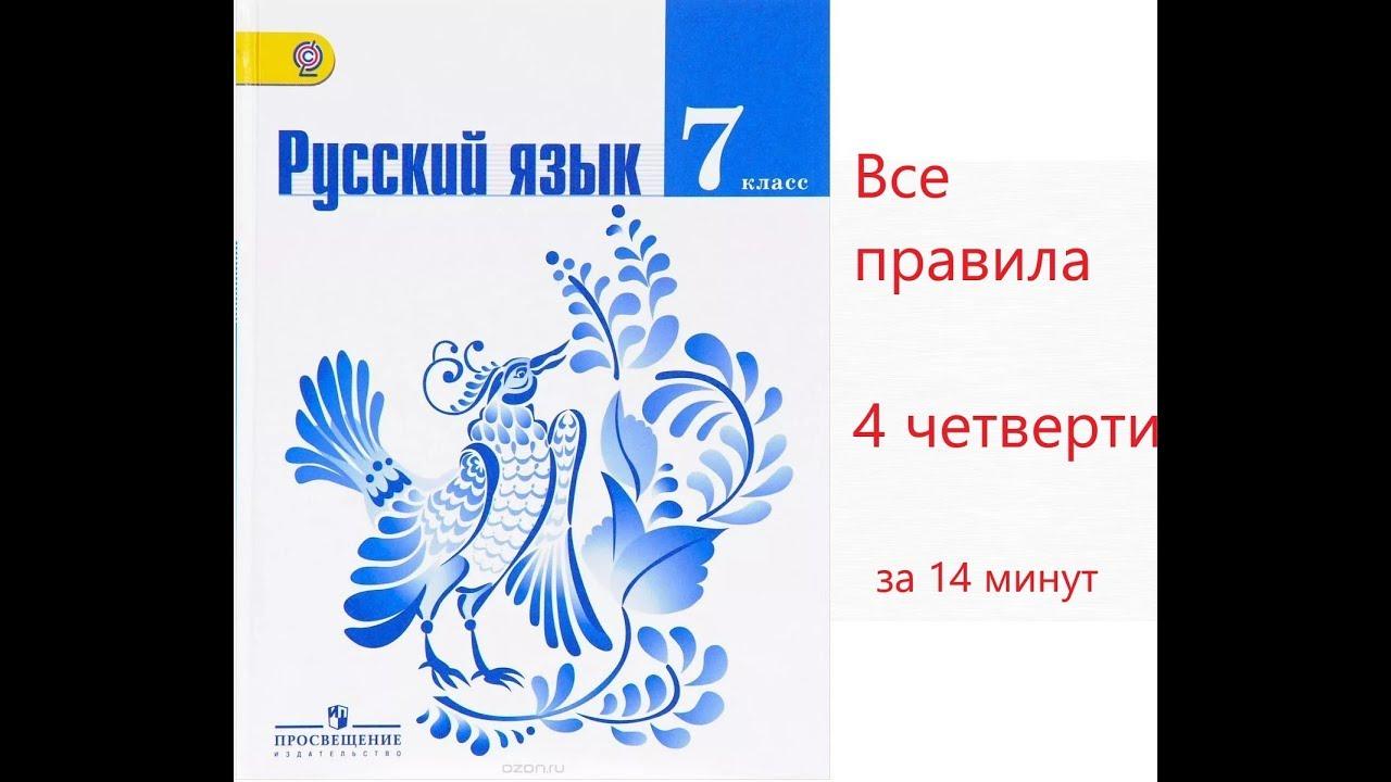 Все правила русского языка за 4 четверть в 7 классе за 14 минут (учебник Т.А. Ладыженской )