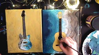 STEP by STEP Acrylic Painting Music Aqua water & Gold-leaf Guitar Set