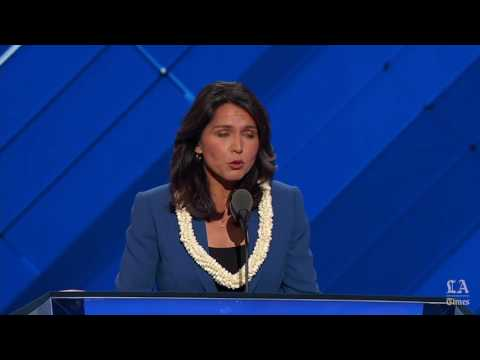 Rep. Tulsi Gabbard of Hawaii nominates Bernie Sanders at the Democratic National Convention
