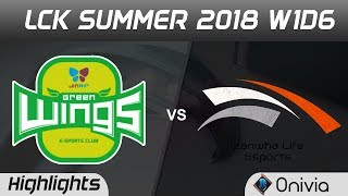 Jag vs hle highlights game 1 lck summer 2018 w1d6 jin air green wing vs hanwha life esports by onivi