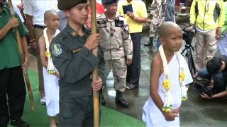 Thai boys ordained in Buddhist ceremony after cave ordeal
