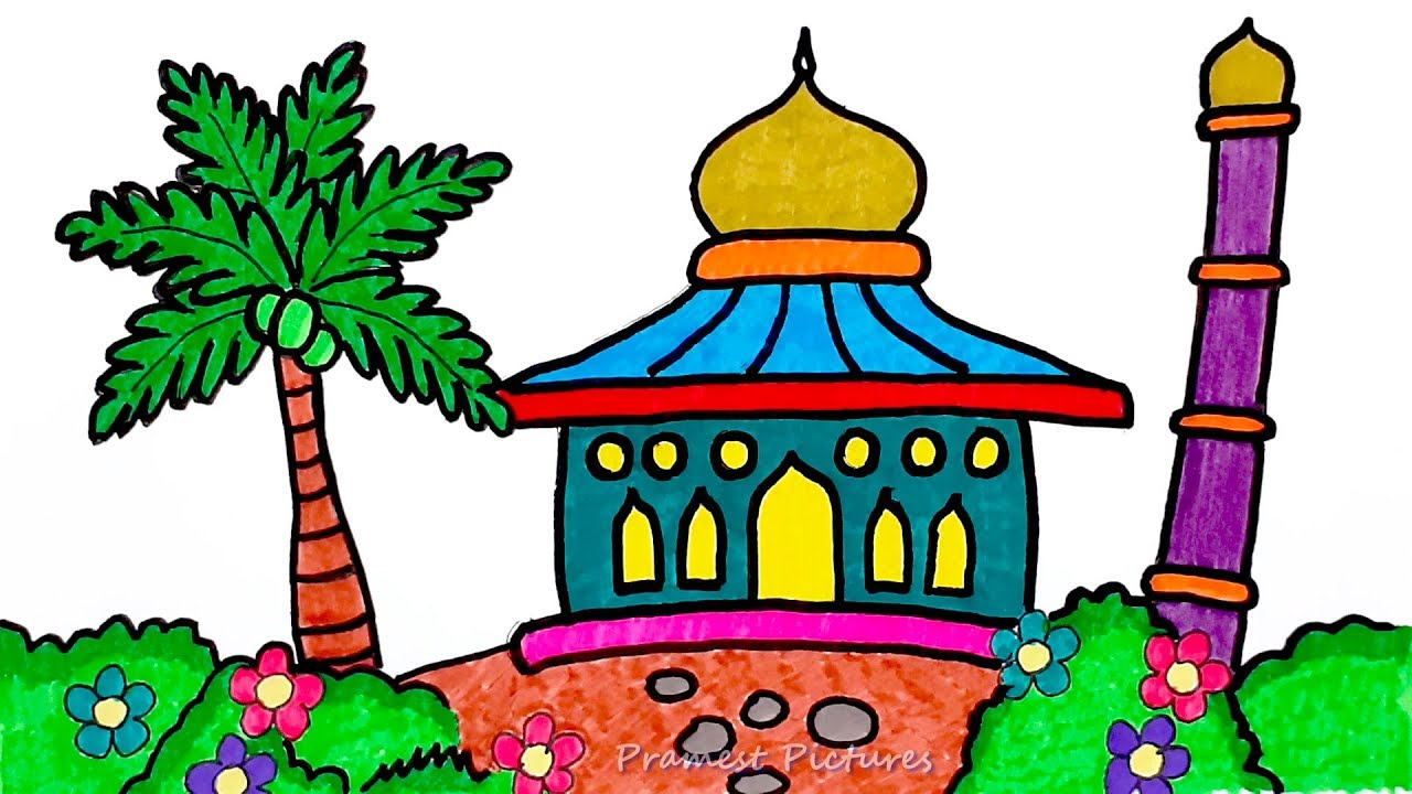 Mosque ☆ Drawing And Coloring For Kids