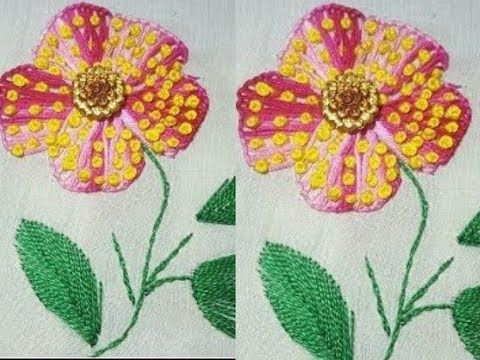 Button Hole stitch with bullion knots Flower hand embrodiery design by Humaira Arts