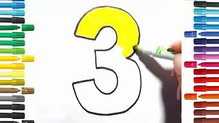 Number coloring pages Drawing numbers for kids | Coloring Book Fun Painting☆