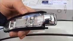Mercedes E class side mirror dismantle blinker replacement. Spiegelblinker. Blinker im Spiegel