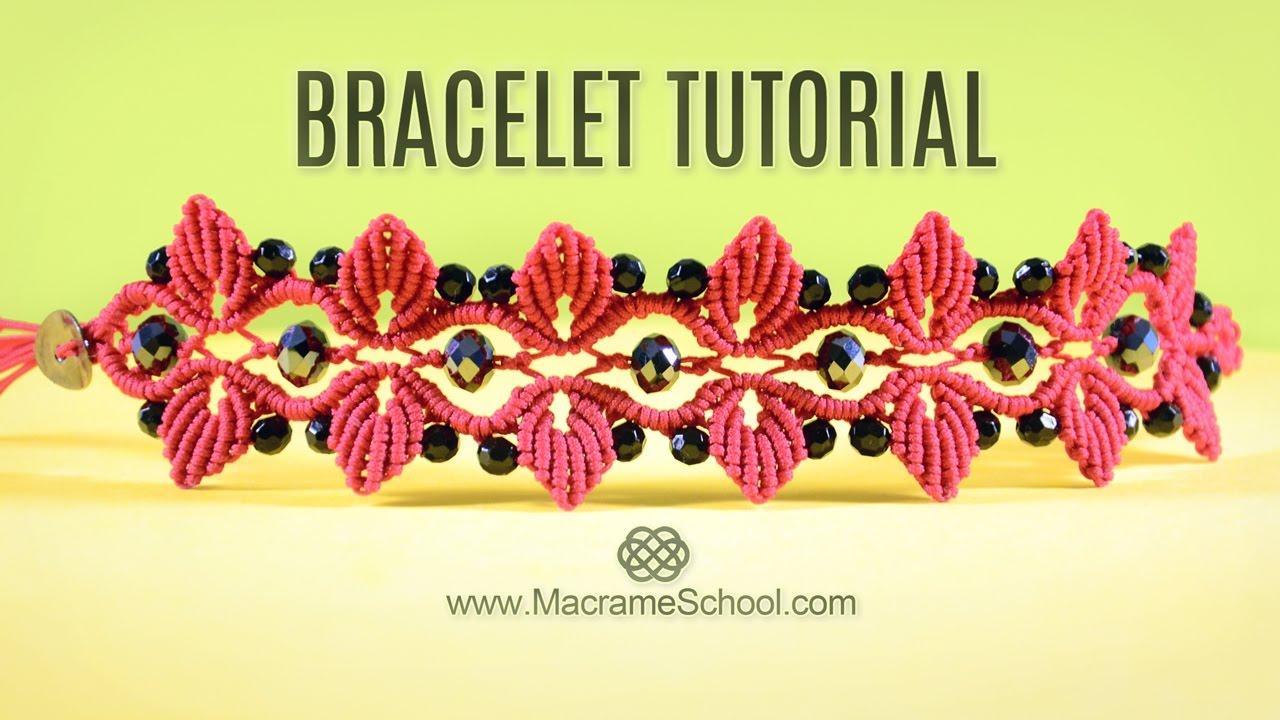3af05124f Leaf Bracelet with Swarovski Berries | TUTORIAL Macramé - YouTube