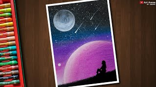 Drawing for Beginners with Oil Pastels and Acrylic - Galaxy Night Scenery Drawing - Step by Step
