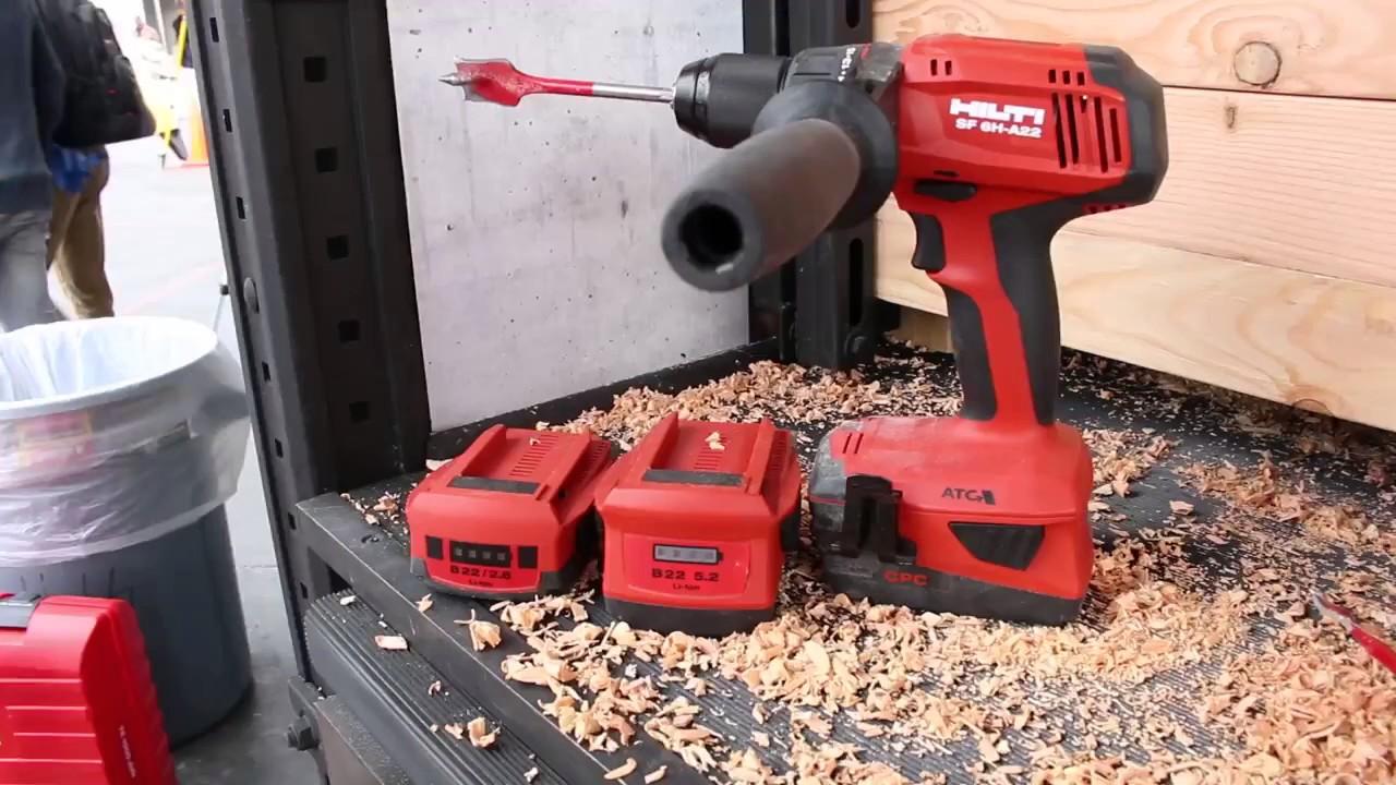 hilti 22v li ion hammer drill driver sf 6h a22 atc youtube. Black Bedroom Furniture Sets. Home Design Ideas