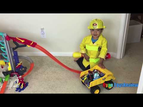 Thumbnail: FIRE ON HOT WHEELS ULTIMATE GARAGE playset Disney Cars Toys Kid Firefighter Fire Engine Toy Truck