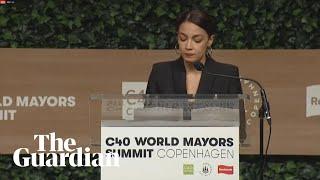 Alexandria Ocasio-Cortez's voice cracks during speech on climate change