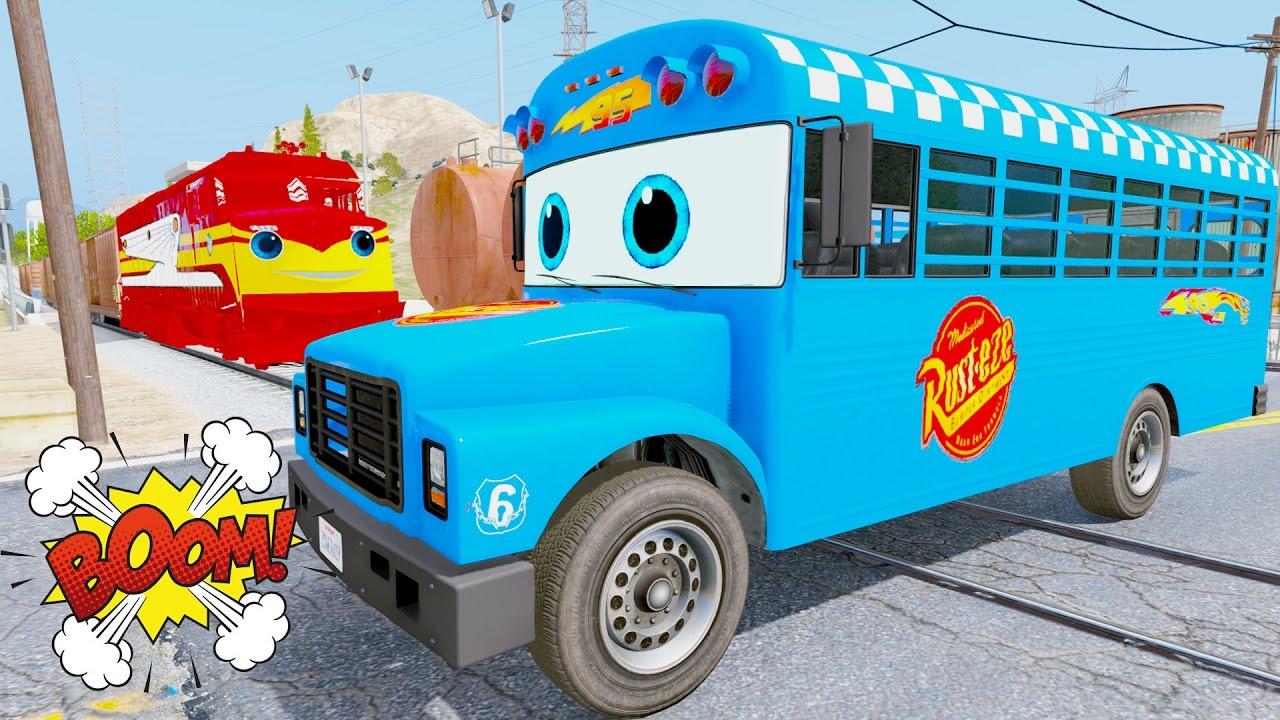 Learn Color School Bus & Trash Truck In Trouble w Train Trev Diesel ...