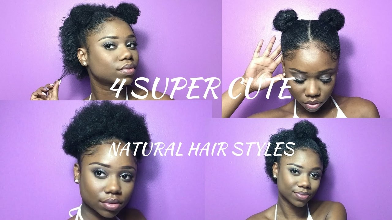 super cute hairstyles for short natural hair ! | half up, space bun, high puff & double top knot
