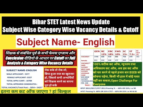 Bihar STET English Paper1 Category Wise Vacancy Details U0026 Cutoff,Applicants Appeared Candidates,STET