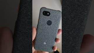 Black Google Pixel 3a in Google Fog Case
