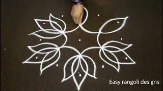 easy lotus rangoli designs with dots for beginners - chukkala muggulu  - simple kolam  designs