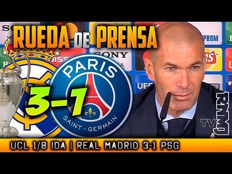 Real Madrid 3-1 PSG Rueda de prensa de ZIDANE Post Champions (14/02/2018)