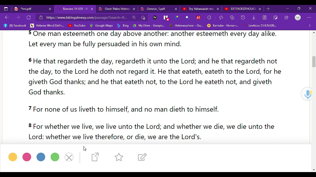Romans 14 , The SABBATH , One Day ABOVE ANOTHER