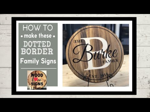 Make this popular dotted border family wood sign.  DIY with a vinyl cutter or Cricut.