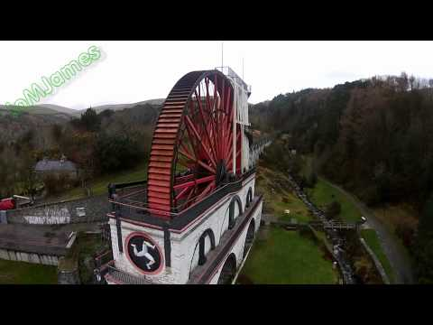Aerial footage of the Laxey wheel