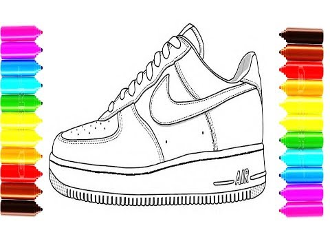 How to Draw and Color Sneakers Shoes Coloring Pages for Children ...