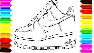 How to Draw and Color Sneakers Shoes Coloring Pages for Children
