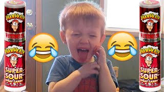 BABY TRIES WARHEADS SOUR SPRAY! - HILARIOUS REACTION