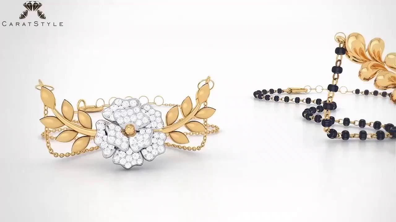Latest And Trendy Diamond Gold Mangalsutra Tanmaniya