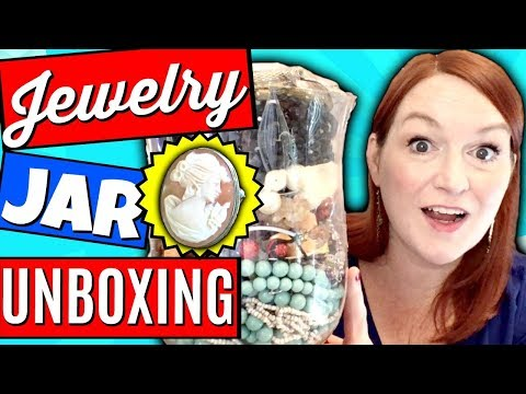 Let's Open a Mystery Jewelry Jar - Vintage Cameo! Goodwill Jewelry Jar Unboxing 2018