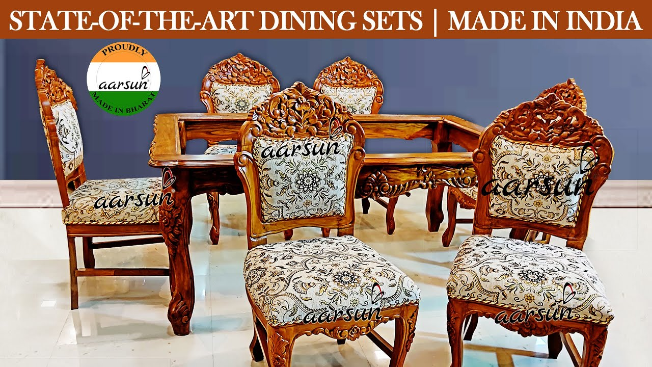 #270 6 Seater Dining Set Teak Wood Matte Finish & Floral Fabric by Artisans @Aarsun - Art of India