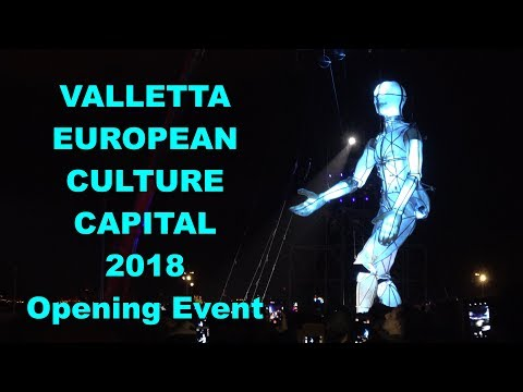 Valletta - Malta European Culture Capital 2018 Opening Event 4K