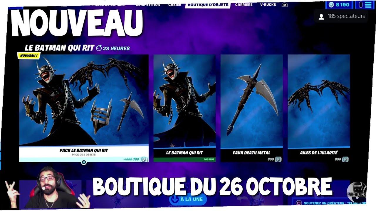 Nouveau SKIN BATMAN QUI RIT, Boutique FORTNITE du 26 octobre, item shop october 26