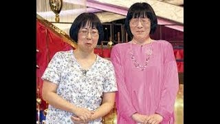 会見で号泣した阿佐ヶ谷姉妹の渡辺江里子(右)と木村美穂.