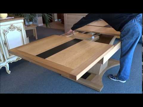 Table chene pied central allonges papillon youtube - Table carree de salle a manger ...