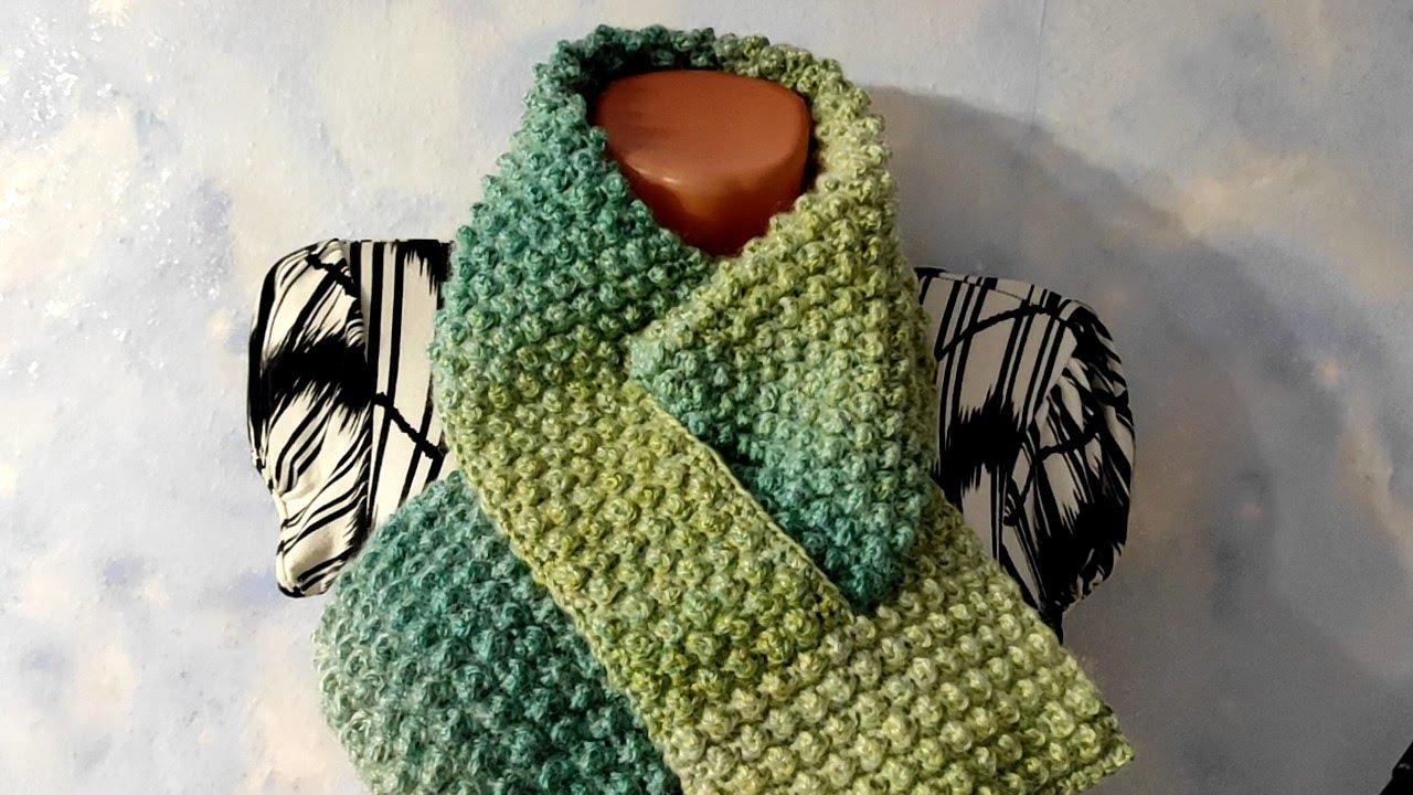 Шарфик с петлей крючком. Комплект шарф+шапочка+варежки.
