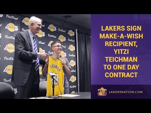 Lakers sign 18 yr old Yitzi Teichman, battling brain cancer, to a 1-day contract. Kid actually got off a couple of funny lines at his presser