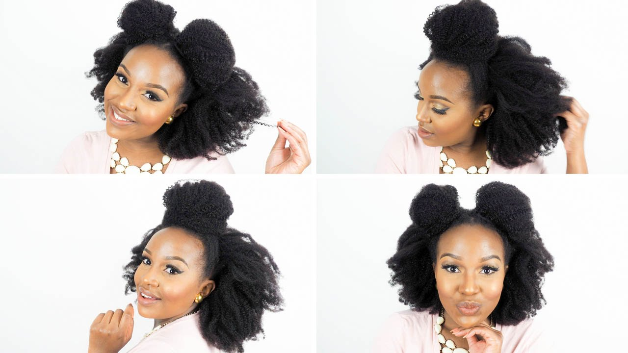 Slay top knot buns on natural hair with her given hair clip in slay top knot buns on natural hair with her given hair clip in extensions youtube pmusecretfo Choice Image