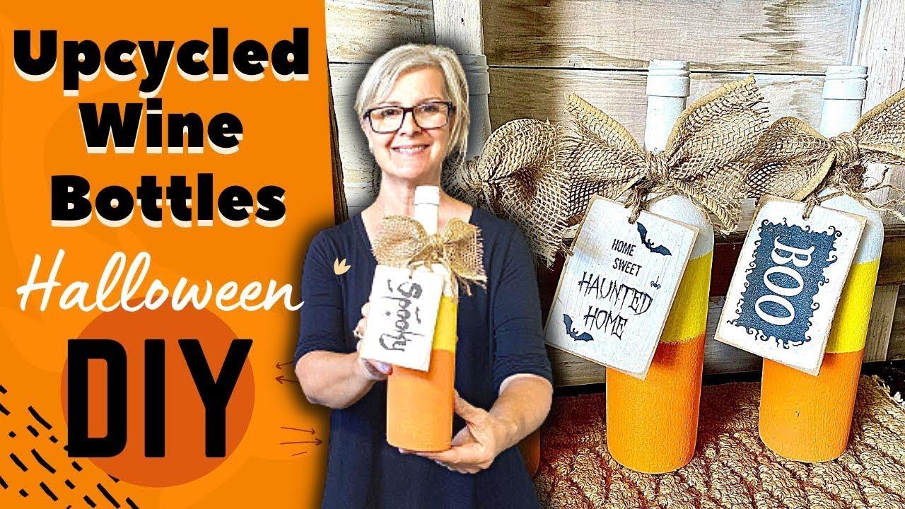 DIY UPCYCLED WINE BOTTLES / Halloween Fall Decor /  TRASH TO TREASURE