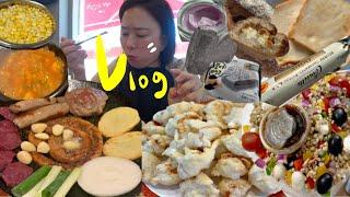 먹방 브이로그 🤚🏼곱창 빵어니스타흑임자 짬뽕 오징어탕슉 베러초이스무화과깜바뉴 곡물샐러드 약간의다이어트식? 이런저런언박싱 이천예스파크 집밥 살림 일상 vlog