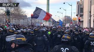 Tear gas & arrests in new Yellow Vests anti-govt protest, Paris