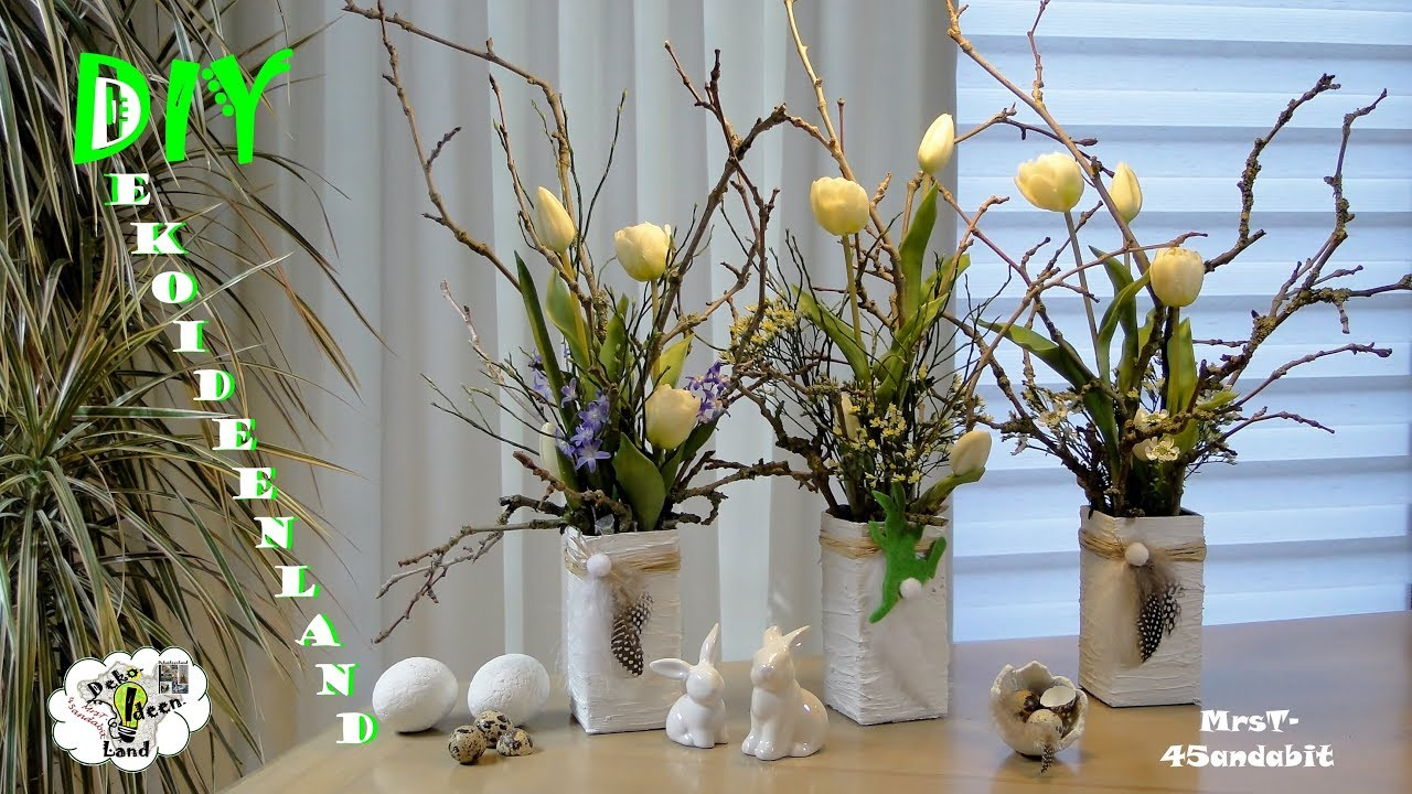 DIY Frühlingsdeko Selber Machen L Spachtel Vase, Tulpen