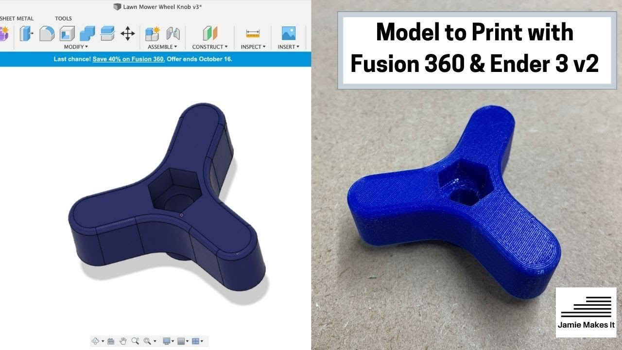 Basic modelling a Lawn mower wheel knob using fusion 360 and printing with a Creality Ender 3 v2