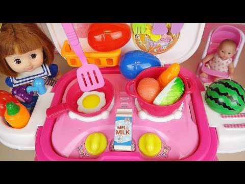 Baby doll Surprise eggs and Kitchen cooking toys baby Doli play