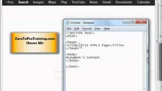 HTML5 Training Series (HTML 5) - Tutorial 2 - Basic HTML5 Page